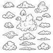 Hand drawn clouds. Weather graphic symbols decorative sky vector nature objects vector cloud collection. Illustration cloud weather, cloudy forecast