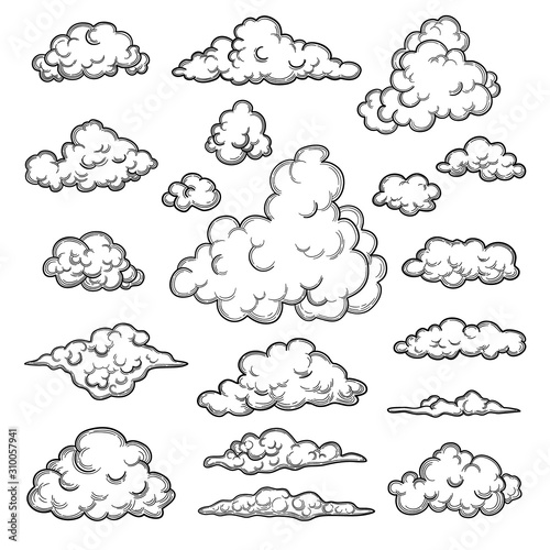 Fotomural Hand drawn clouds