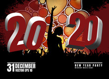 New Year Party. Silhouettes Of...