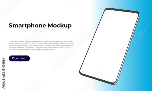 Fototapeta Rotated 3d smartphone mockup template for application presentation and user experience design. Blue background obraz na płótnie