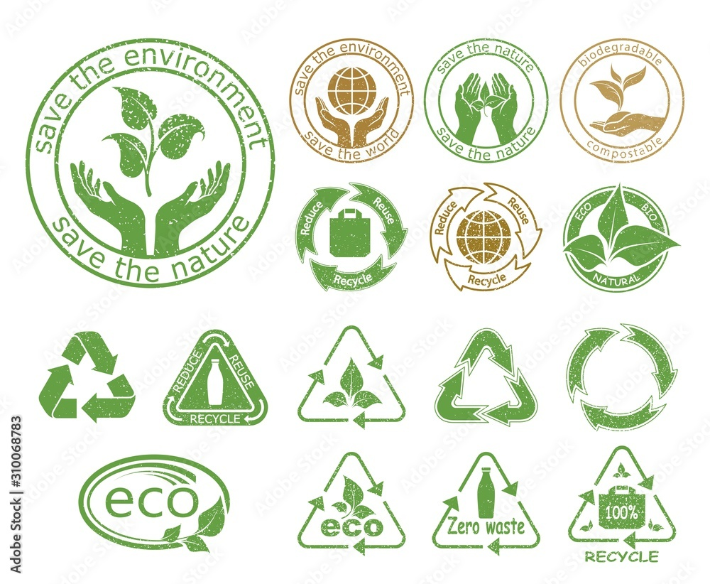 Fototapeta Ecology icons set. Symbols of nature conservation and environmental protection. Reduce, reuse and recycle. Recyclable 100% and  Zero waste. Emblems with  stamp texture. Isolation. Vector illustration