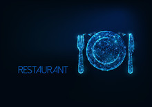 Futuristic Restaurant Business Concept With Glowing Low Polygonal Silverware Fork, Knife And Plate