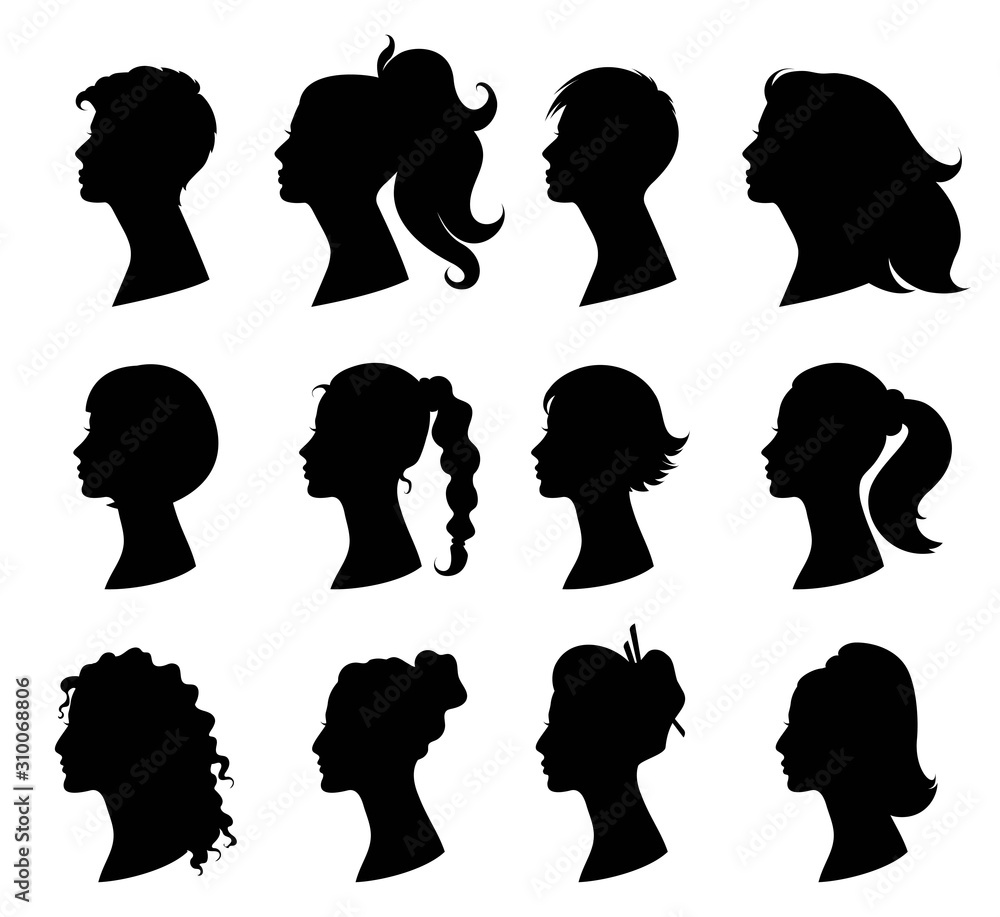 Hair Style Woman Beautiful Girls With Variety Of Fashionable Hairstyles Design Element For Beauty Salon And Hairdresser Skin And Hair Care Isolated Black Silhouette Vector Illustration Wall Mural Larisa