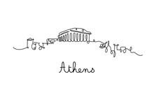 One Line Style Athens City Skyline. Simple Modern Minimaistic Style Vector.
