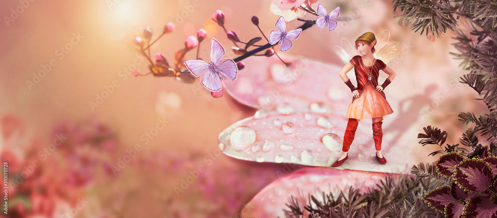 Fototapeta  Fantasy and fairy tale background for children, 3d, CG