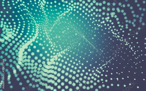 Abstract background. Molecules technology with polygonal shapes, connecting dots and lines. Connection structure. Big data visualization. - 310071366