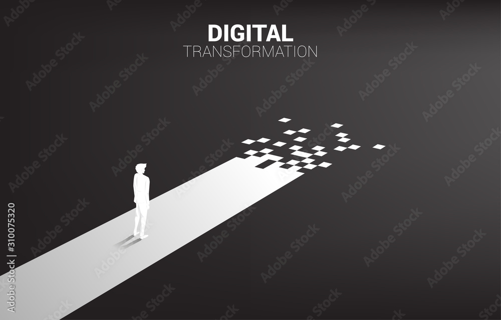 Fototapeta Silhouette of businessman standing on the way with pixel. concept of digital transformation of business.