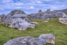 Area Known As Elephant Rocks In The Waitaki Basin Near Oamaru In New Zealand