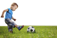 Sports Kid. Baby Playing Socce...
