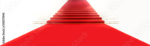 Staircase with red carpet, illuminated by light Canvas Print