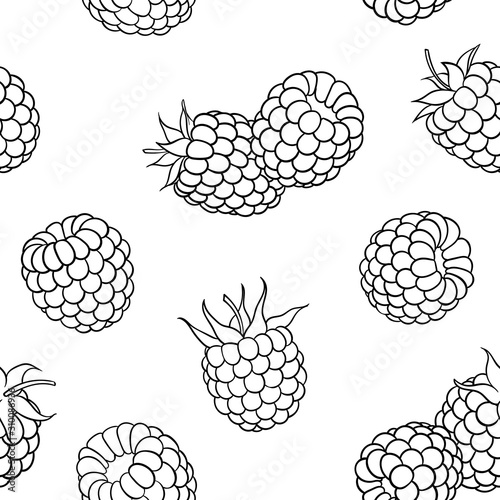 fototapeta na lodówkę Beautiful seamless pattern cartoon black and white outline raspberry, symbol of summer. design for holiday greeting card and invitation of seasonal summer holidays, beach parties, tourism and travel