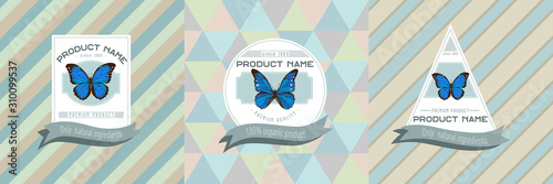 Three colored labels with illustration of morpho menelaus, morpho rhetenor cacic Canvas-taulu