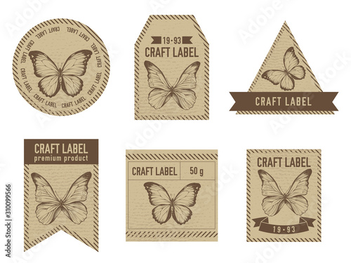 Obraz na plátně  Craft labels vintage design with illustration of morpho menelaus, morpho rheteno