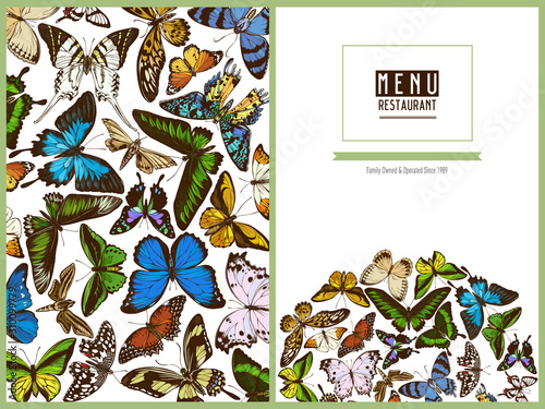 Valokuva Menu cover design with colored papilio ulysses, morpho menelaus, graphium androc