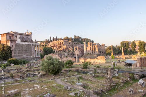 Overview of the Ruins of the Forum in Rome Italy Canvas Print