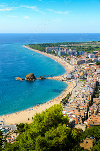 Beach and coast of Blanes city seen from Castell Sant Joan in Spain Poster Mural XXL