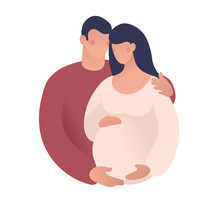 A Man And A Pregnant Woman. Th...