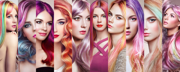Beauty fashion collage girls with colorful dyed hair. Faces of women. Girl wi...