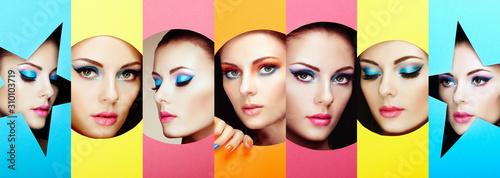 Fotografía  Women's faces in colored paper