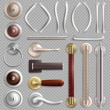 Realistic Metal Door Handles, Vector Isolated Illustration