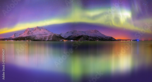 Northern lights (Aurora borealis) in the sky over Tromso, Norway Canvas Print