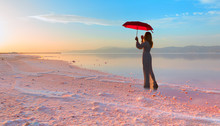 Girl With Umbrella In The Maha...