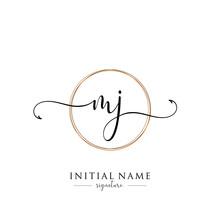 Initial Letter MJ Signature Handwriting And Elegant Logo Design Vector