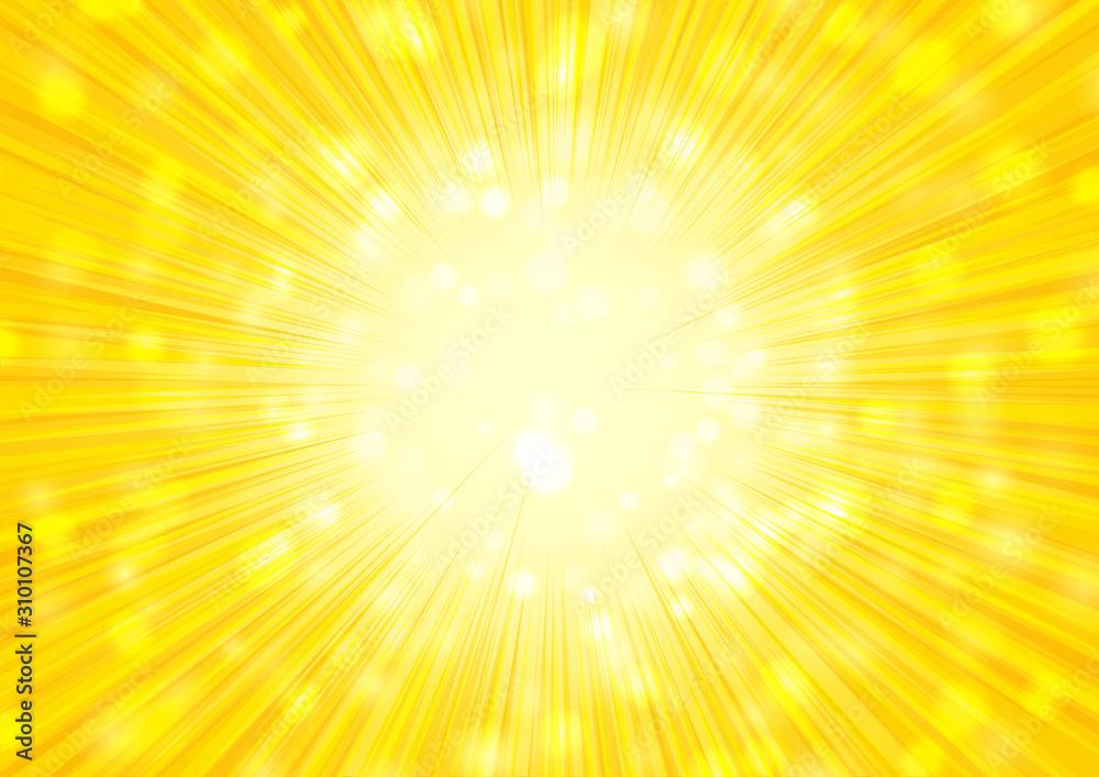Fototapeta 黄色の放射状キラキラ背景素材