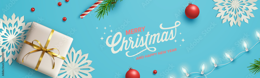 Blue Christmas Background. Vector Illustration.