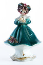 Porcelain Vintage  Girl Figurine With Prayer Book In Blue Dress And Brown Hair.