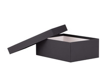 Open Box Close Up. Shoe Box. Black Paper Box Isolate On A White Background.