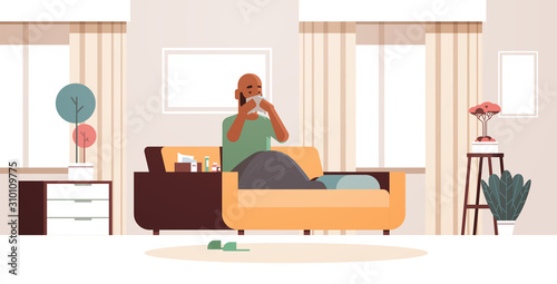 Carta da parati sick man blowing nose with handkerchief unhealthy african american guy cleaning