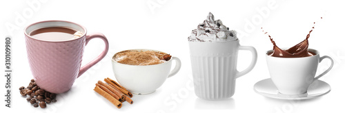 Splash of cocoa in cup on white background Wallpaper Mural