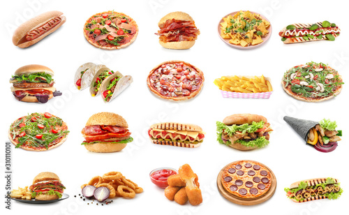 Fotografie, Obraz Set of different fast food products on white background