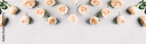 Fotomural  White roses frame flat lay on blue background.