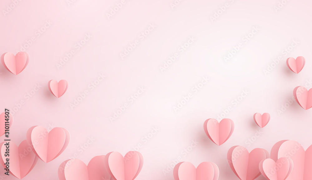 Fototapeta Paper elements in shape of heart flying on pink background. Vector symbols of love for Happy Women's, Mother's, Valentine's Day, birthday greeting card design..