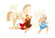 Trojan War Flat Vector Illustr...