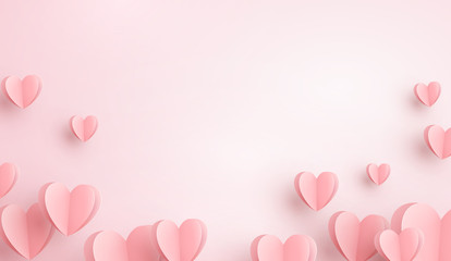 Paper elements in shape of heart flying on pink background. Vector symbols of love for Happy Women's, Mother's, Valentine's Day, birthday greeting card design..