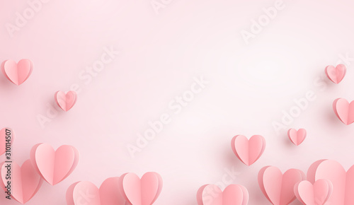 Obraz Paper elements in shape of heart flying on pink background. Vector symbols of love for Happy Women's, Mother's, Valentine's Day, birthday greeting card design.. - fototapety do salonu