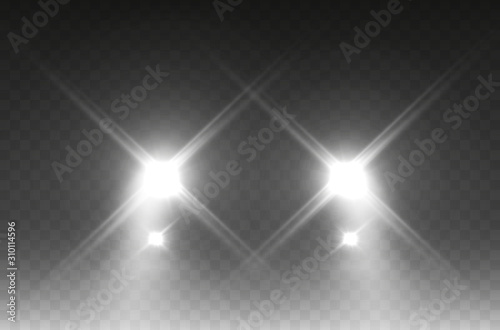 Obraz Cars headlight effect. Realistic white round flares beams isolated on transparent background. Vector bright train lights.. - fototapety do salonu