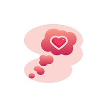 Think Cloud With Heart Flat Icon, Vector Sign, Thinking Of Love Colorful Pictogram Isolated On White. Symbol, Logo Illustration. Flat Style Design