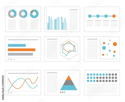 ビジネス グラフ セット Canvas Print