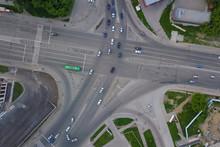 Aerial View Of Crossed Road, C...