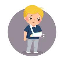 Vector Illustration Of Cartoon Sad Boy Looking At His Broken Arm In Cast. Health Problems Concept.