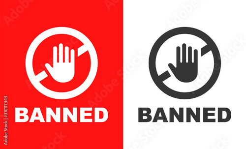 Cuadros en Lienzo ban sign with crossed hand on red and white background