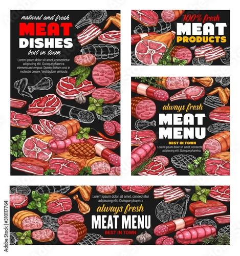 Butcher shop meat food menu, sausages and butchery gourmet delicatessen Canvas Print