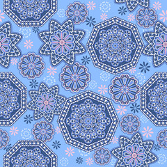 Seamless ornamental oriental pattern. Repeating geometric tiles with mandala....