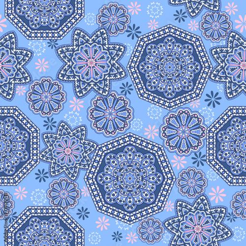 Seamless ornamental oriental pattern. Repeating geometric tiles with mandala....