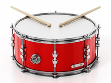 Snare Drum Set Isolated On Whi...