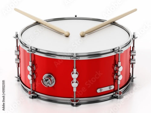 Fotografia Snare drum set isolated on white background. 3D illustration